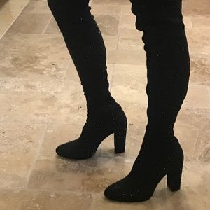 over the knee boots with black crystals